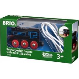 BRIO 33599 Czarna lokomotywa z baterią i mini USB