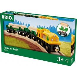 BRIO Pociąg towarowy z drewnem 33775