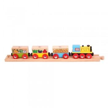 Kolejka Drewniana Pociąg z owocami i warzywami BigJigs BJT180