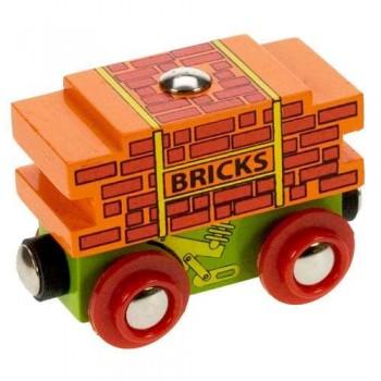 Wagon z cegłami do kolejek drewnianych BigJigs BJT403