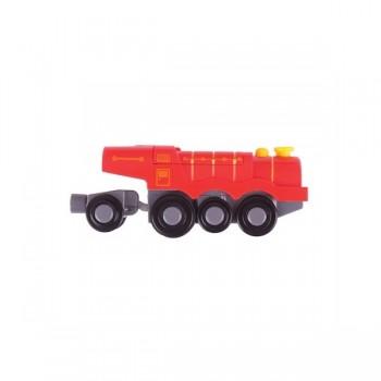 Kolejka drewniana czerwona lokomotywa parowa na baterie BigJigs BJT307