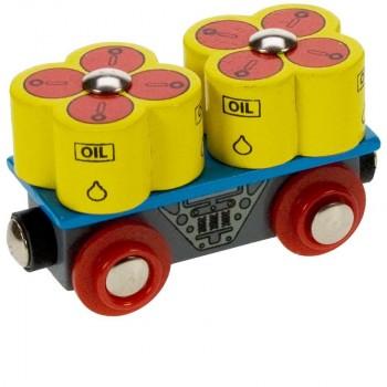 BJT405 Wagon z beczkami z olejem do kolejek drewnianych