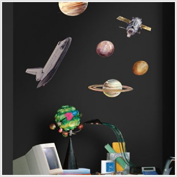 RoomMates Naklejki na Ścianę Wielokrotnego Użytku 1003 - Kosmiczne Podróże
