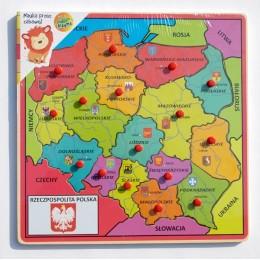 Playme PL001 Drewniana mapa Polski