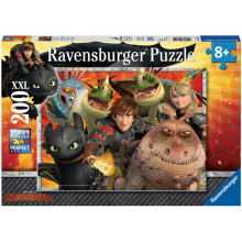 Ravensburger - Puzzle -  Dragons: Hicks, Astrid i smoki - 200 XXL - 12812