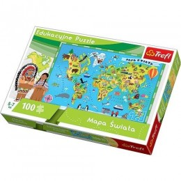 TREFL 15502 PUZZLE edukacyjne  Mapa świata 100 el.