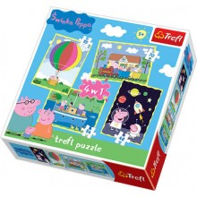 Trefl 34131 Puzzle Świnka Peppa 4w1 4 obrazki