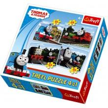 Trefl 34101 Puzzle Tomek i Przyjaciele 4w1 4 obrazki