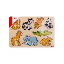 GOKI 57502 Układanka drewniana - Zwierzęta
